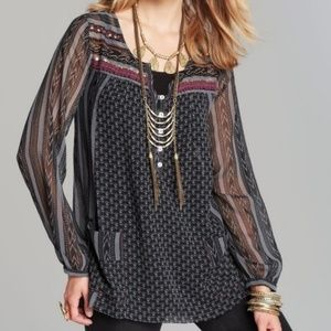 "Free People ""Feather in the Wind"" Sheer Tunic XS"